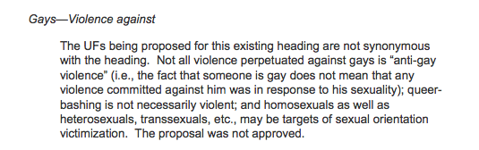Gays--Violence against heading rejection